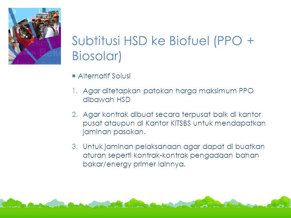 Subtitusi HSD ke Biofuel (PPO + Biosolar)  Alternatif Solusi 1.Agar ditetapkan patokan harga maksimum PPO dibawah HSD 2.Agar kontrak dibuat secara te
