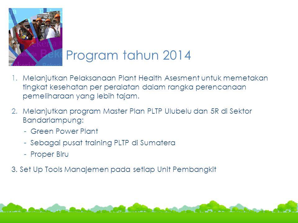 Program tahun 2014 1.Melanjutkan Pelaksanaan Plant Health Asesment untuk memetakan tingkat kesehatan per peralatan dalam rangka perencanaan pemelihara