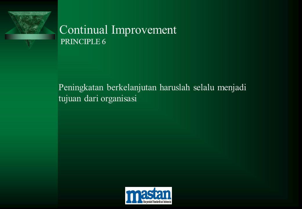 Continual Improvement PRINCIPLE 6 Peningkatan berkelanjutan haruslah selalu menjadi tujuan dari organisasi
