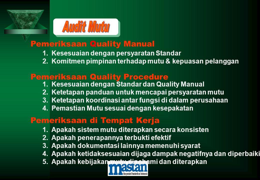 1.Kesesuaian dengan persyaratan Standar 2.Komitmen pimpinan terhadap mutu & kepuasan pelanggan Pemeriksaan Quality Procedure 1.Kesesuaian dengan Stand