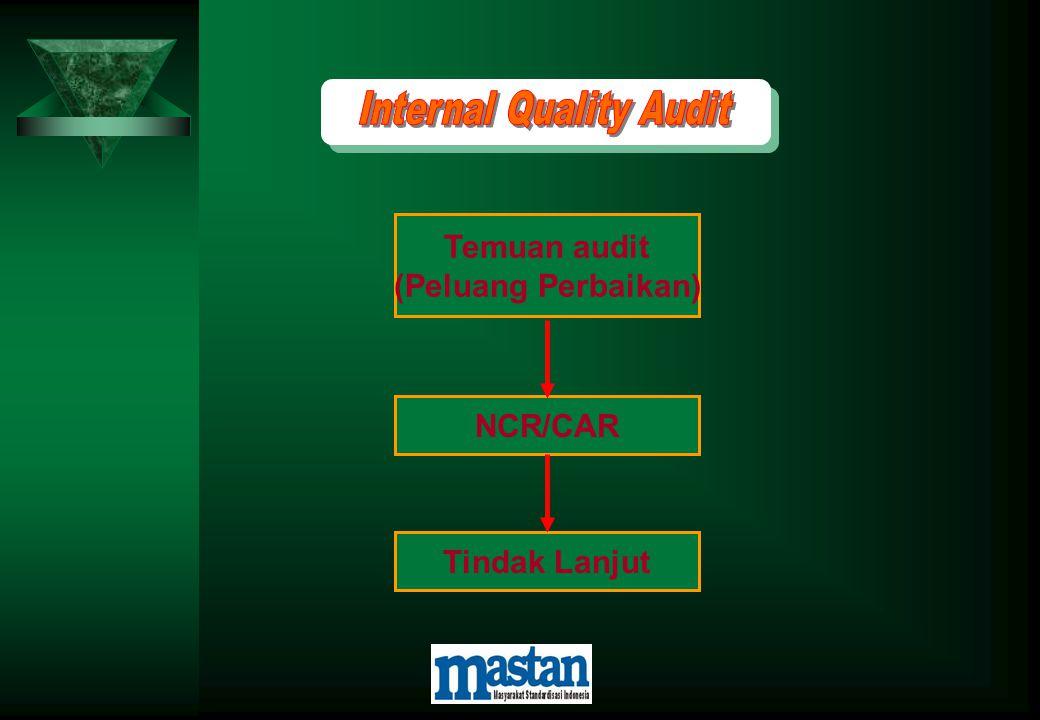 Temuan audit (Peluang Perbaikan) NCR/CAR Tindak Lanjut
