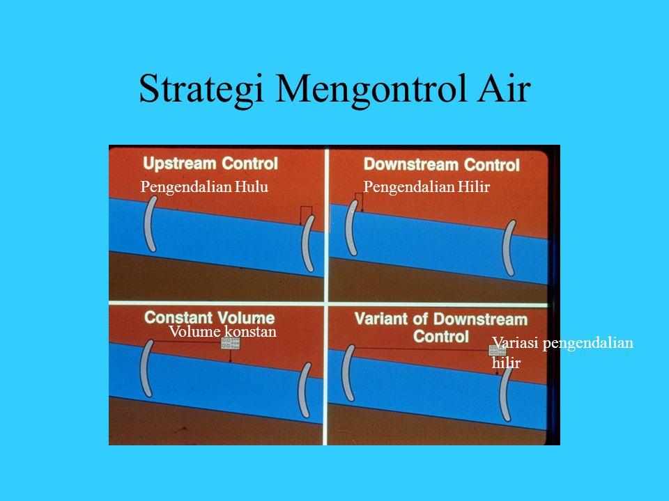 Strategi Mengontrol Air Pengendalian HuluPengendalian Hilir Volume konstan Variasi pengendalian hilir