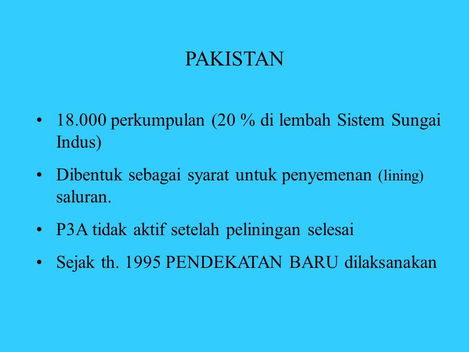 PAKISTAN •18.000 perkumpulan (20 % di lembah Sistem Sungai Indus) •Dibentuk sebagai syarat untuk penyemenan (lining) saluran. •P3A tidak aktif setelah