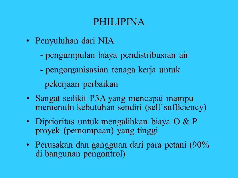 PHILIPINA •Penyuluhan dari NIA - pengumpulan biaya pendistribusian air - pengorganisasian tenaga kerja untuk pekerjaan perbaikan •Sangat sedikit P3A y