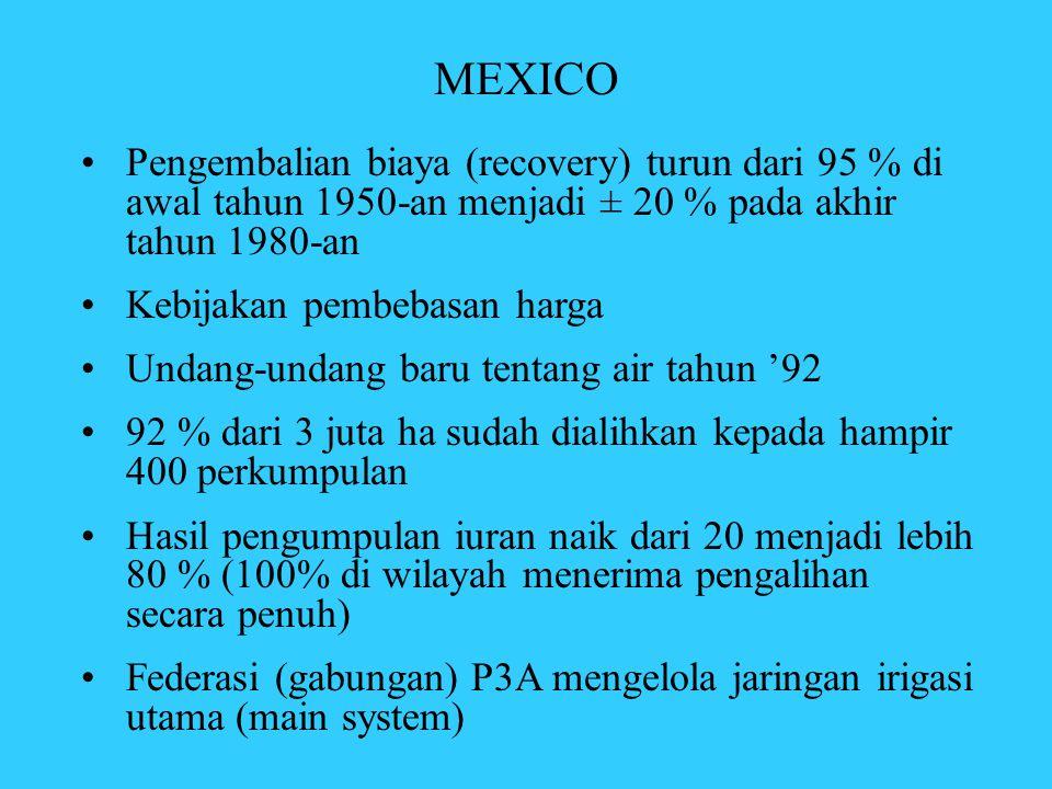 MEXICO •Pengembalian biaya (recovery) turun dari 95 % di awal tahun 1950-an menjadi ± 20 % pada akhir tahun 1980-an •Kebijakan pembebasan harga •Undan