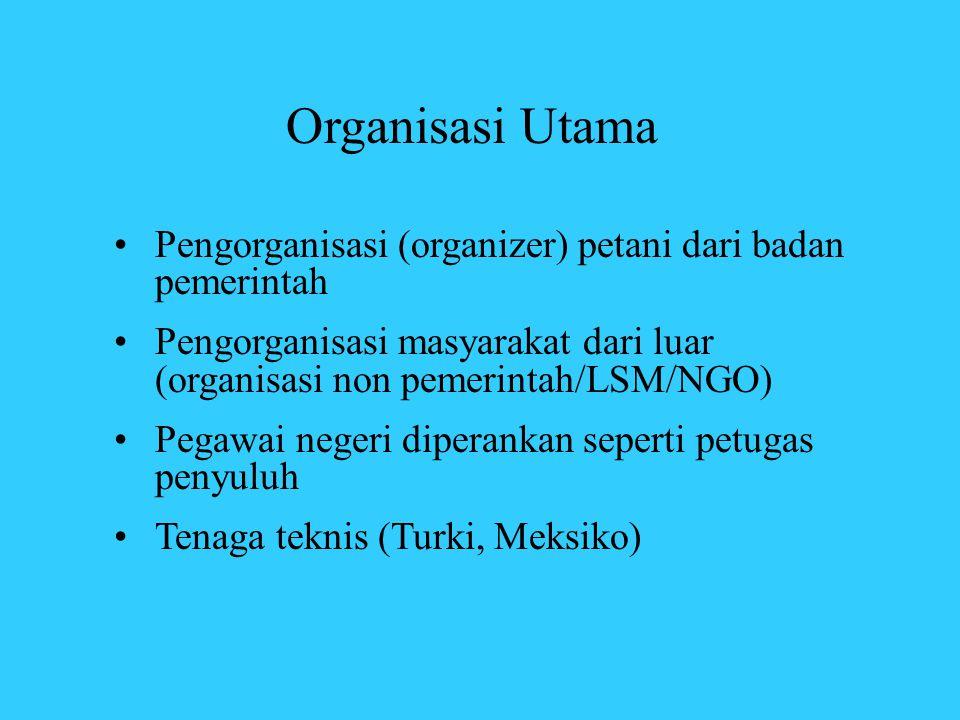 Organisasi Utama •Pengorganisasi (organizer) petani dari badan pemerintah •Pengorganisasi masyarakat dari luar (organisasi non pemerintah/LSM/NGO) •Pe