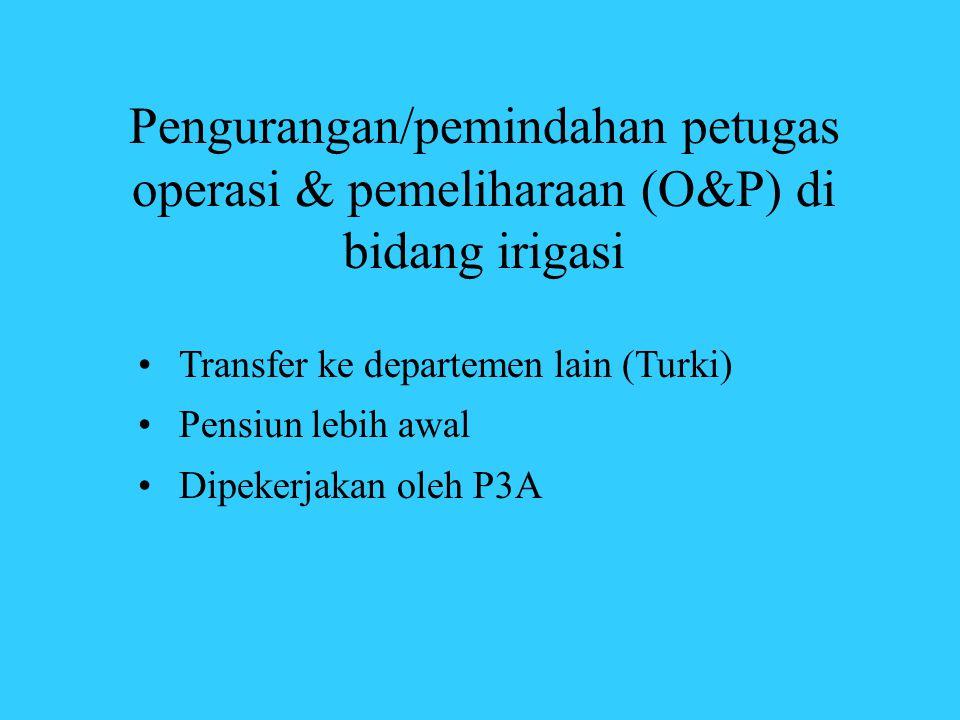 Pengurangan/pemindahan petugas operasi & pemeliharaan (O&P) di bidang irigasi •Transfer ke departemen lain (Turki) •Pensiun lebih awal •Dipekerjakan o