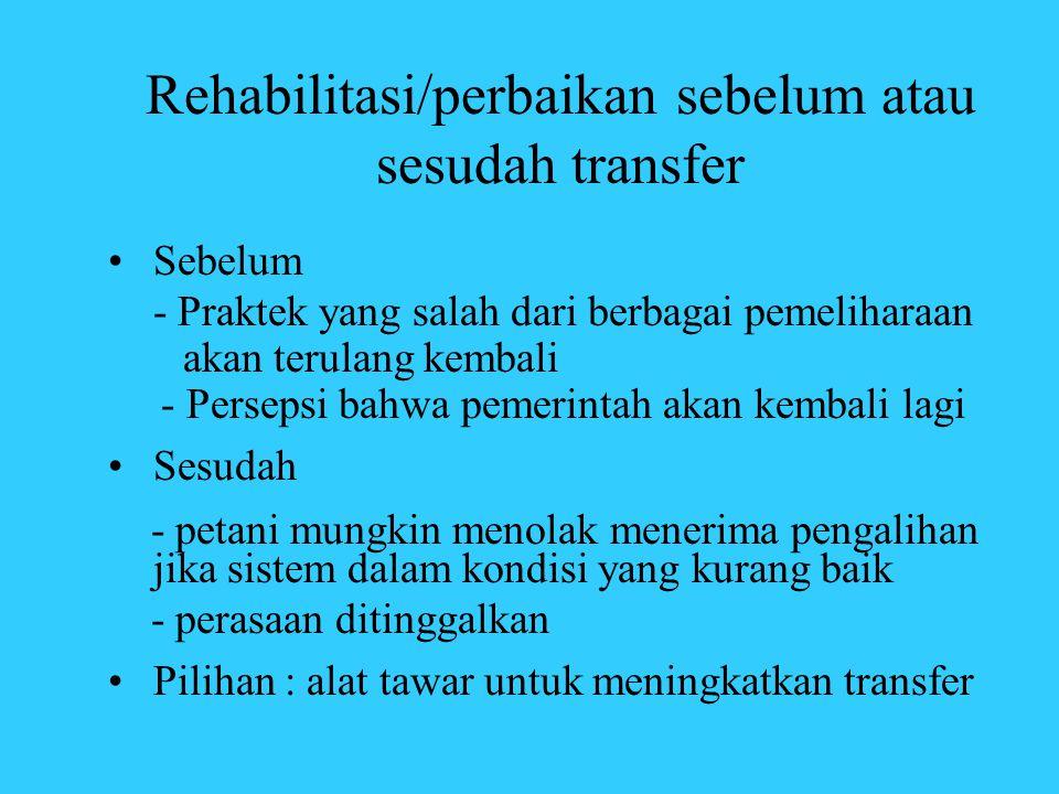 Rehabilitasi/perbaikan sebelum atau sesudah transfer •Sebelum - Praktek yang salah dari berbagai pemeliharaan akan terulang kembali - Persepsi bahwa p