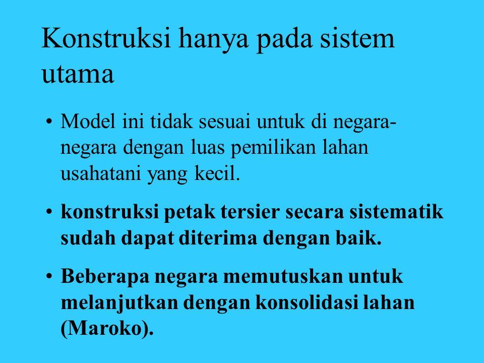 Konstruksi hanya pada sistem utama •Model ini tidak sesuai untuk di negara- negara dengan luas pemilikan lahan usahatani yang kecil. •konstruksi petak