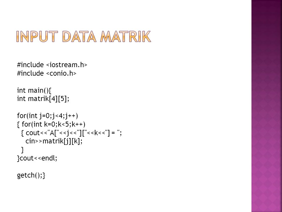 #include int main(){ int matrik[4][5]; for(int j=0;j<4;j++) { for(int k=0;k<5;k++) { cout<<