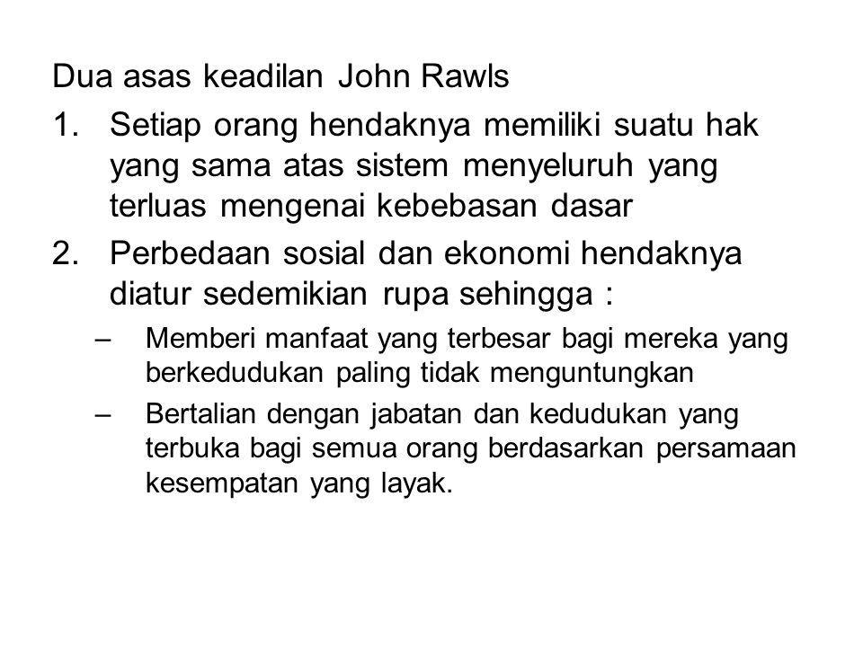 Dua asas keadilan John Rawls 1.Setiap orang hendaknya memiliki suatu hak yang sama atas sistem menyeluruh yang terluas mengenai kebebasan dasar 2.Perb