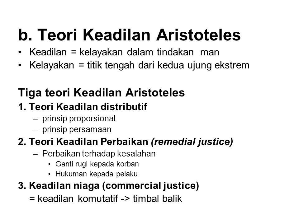 b. Teori Keadilan Aristoteles •Keadilan = kelayakan dalam tindakan man •Kelayakan = titik tengah dari kedua ujung ekstrem Tiga teori Keadilan Aristote