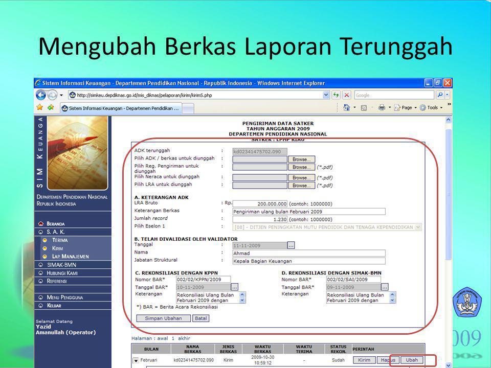 Mengubah Berkas Laporan Terunggah