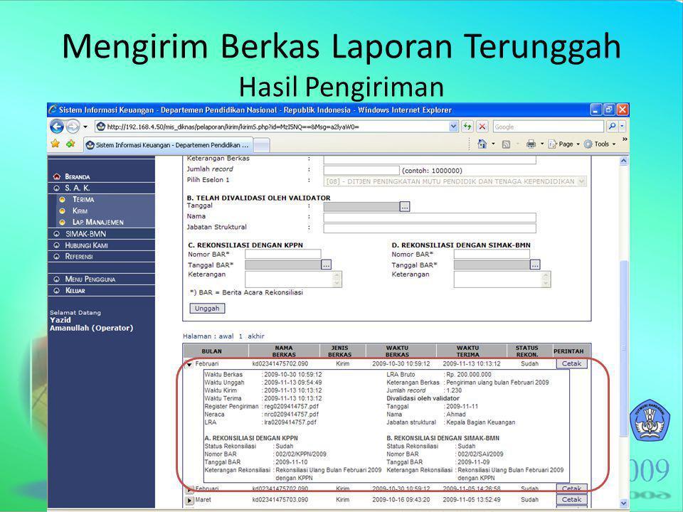 Mengirim Berkas Laporan Terunggah Hasil Pengiriman