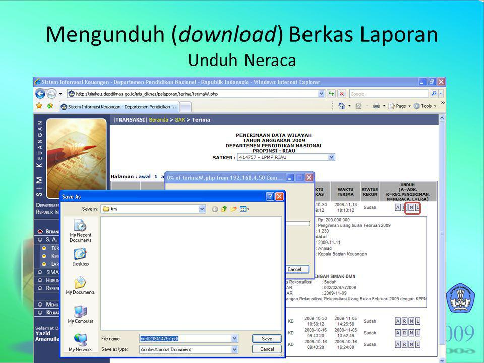 Mengunduh (download) Berkas Laporan Unduh Neraca