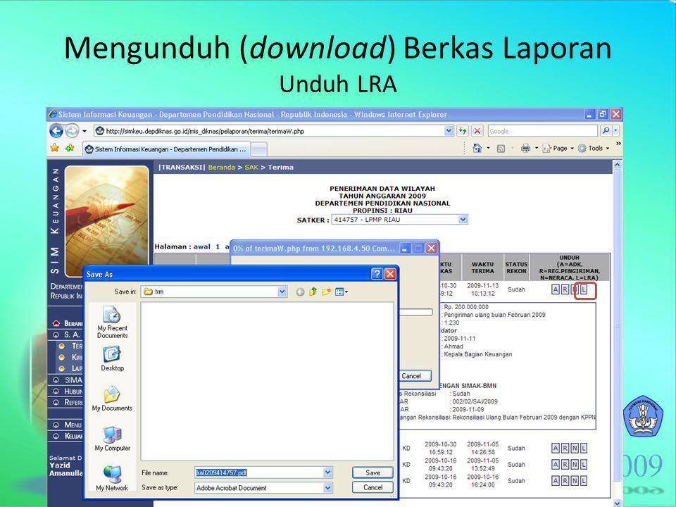 Mengunduh (download) Berkas Laporan Unduh LRA