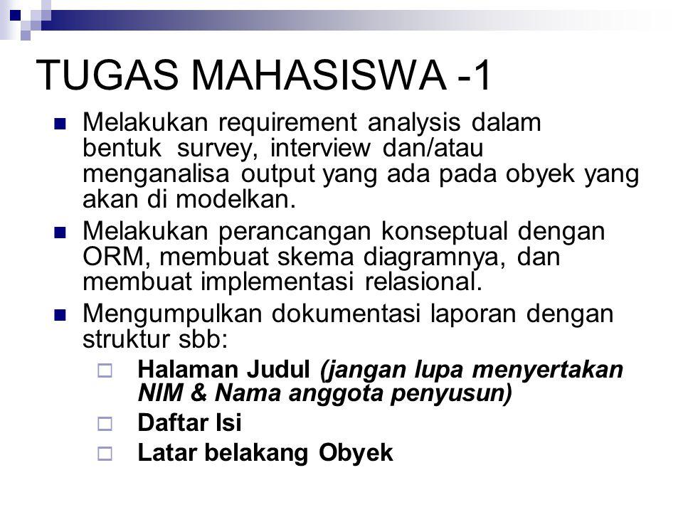 TUGAS MAHASISWA -1  Melakukan requirement analysis dalam bentuk survey, interview dan/atau menganalisa output yang ada pada obyek yang akan di modelkan.