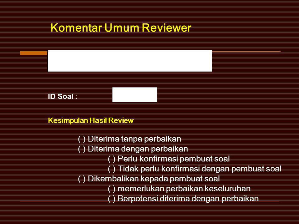 Saran Perbaikan Tanggal: (DD) / (MM) / (YY) Nama Jelas : Tanda Tangan Reviewer
