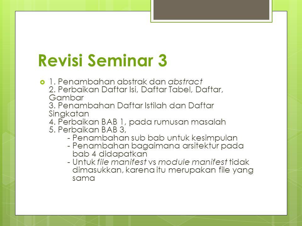 Revisi Seminar 3  1. Penambahan abstrak dan abstract 2. Perbaikan Daftar Isi, Daftar Tabel, Daftar, Gambar 3. Penambahan Daftar Istilah dan Daftar Si