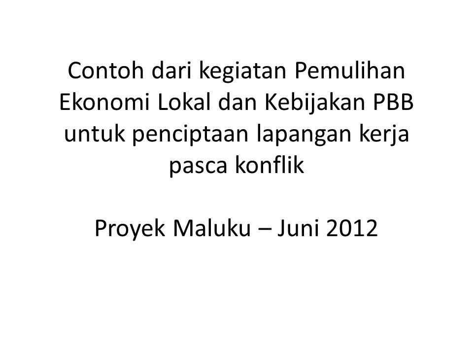 Contoh dari kegiatan Pemulihan Ekonomi Lokal dan Kebijakan PBB untuk penciptaan lapangan kerja pasca konflik Proyek Maluku – Juni 2012