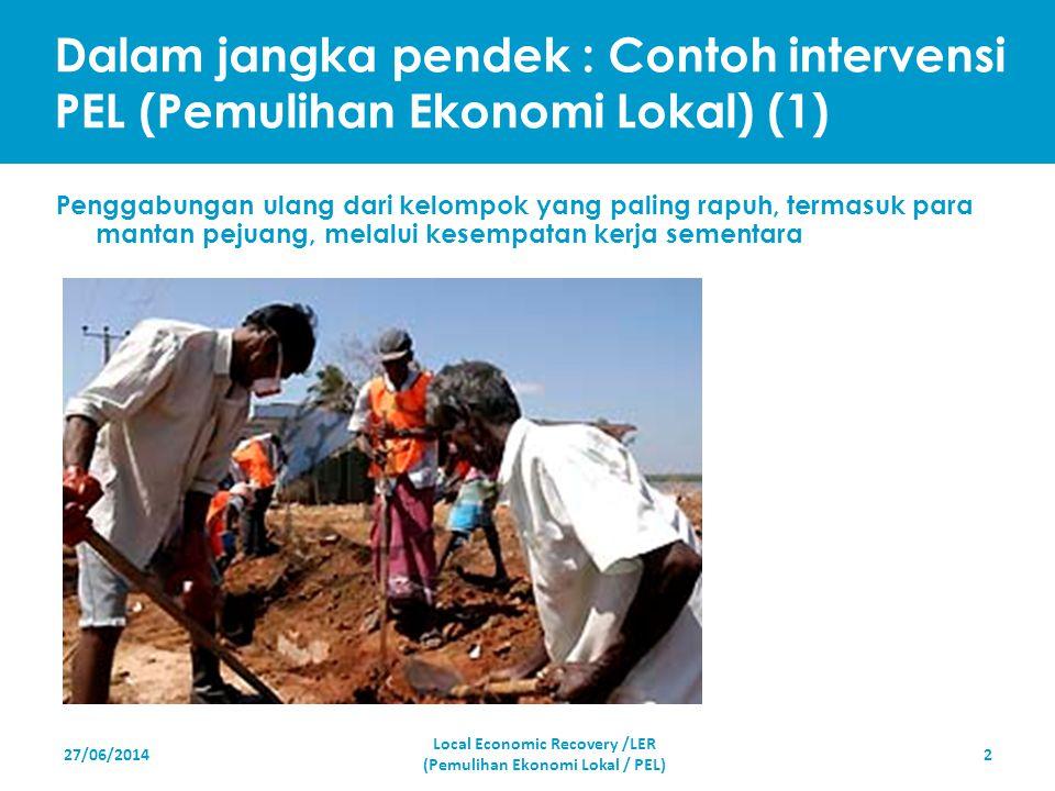 Dalam jangka pendek : Contoh intervensi PEL (Pemulihan Ekonomi Lokal) (1) 27/06/2014 Local Economic Recovery /LER (Pemulihan Ekonomi Lokal / PEL) 2 Pe