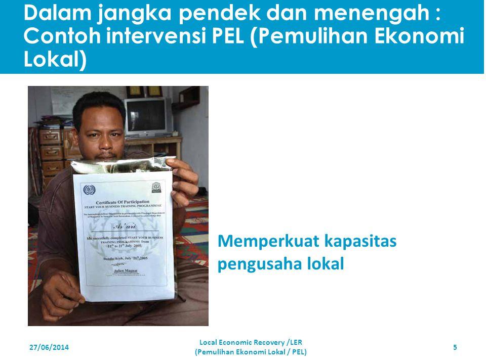 27/06/20145 Memperkuat kapasitas pengusaha lokal Local Economic Recovery /LER (Pemulihan Ekonomi Lokal / PEL) Dalam jangka pendek dan menengah : Conto