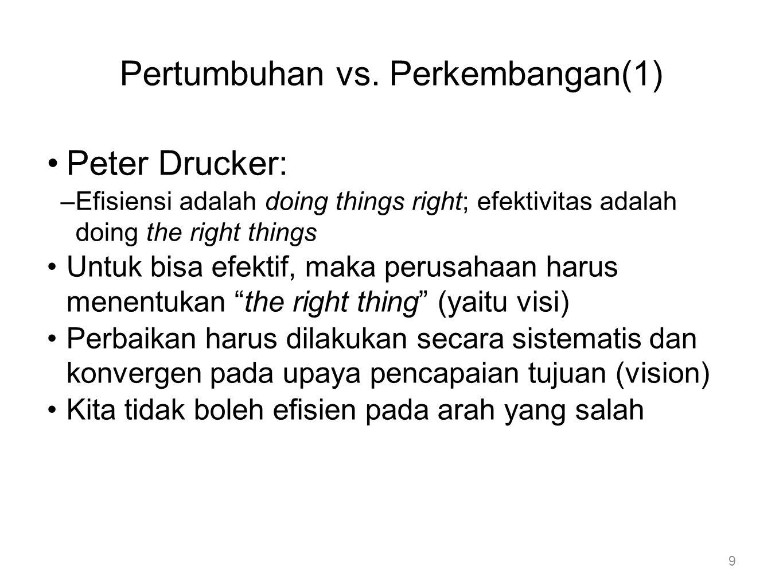 Pertumbuhan vs. Perkembangan(1) •Peter Drucker: –Efisiensi adalah doing things right; efektivitas adalah doing the right things •Untuk bisa efektif, m