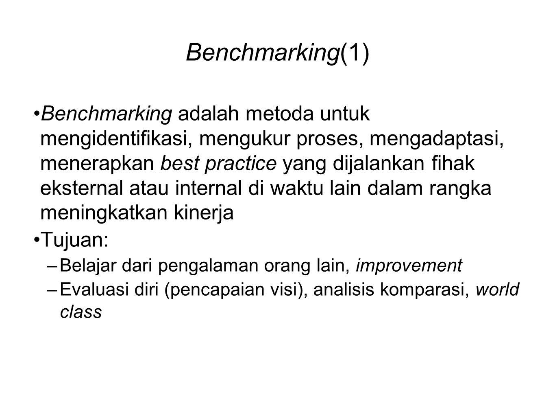 Benchmarking(1) •Benchmarking adalah metoda untuk mengidentifikasi, mengukur proses, mengadaptasi, menerapkan best practice yang dijalankan fihak eksternal atau internal di waktu lain dalam rangka meningkatkan kinerja •Tujuan: –Belajar dari pengalaman orang lain, improvement –Evaluasi diri (pencapaian visi), analisis komparasi, world class