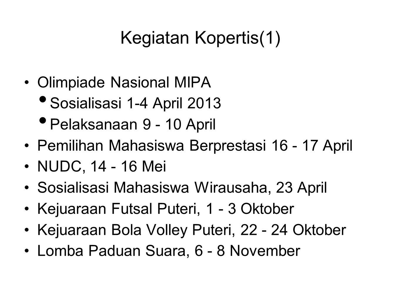 Kegiatan Kopertis(1) •Olimpiade Nasional MIPA • Sosialisasi 1-4 April 2013 • Pelaksanaan 9 - 10 April •Pemilihan Mahasiswa Berprestasi 16 - 17 April •