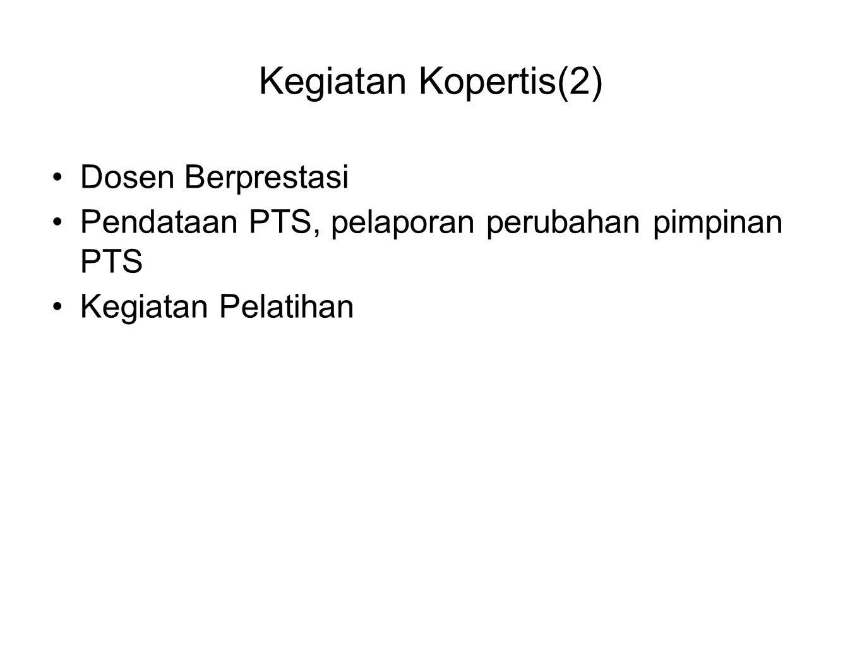 Kegiatan Kopertis(2) •Dosen Berprestasi •Pendataan PTS, pelaporan perubahan pimpinan PTS •Kegiatan Pelatihan