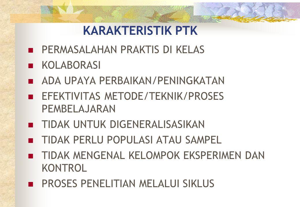 KARAKTERISTIK PTK  PERMASALAHAN PRAKTIS DI KELAS  KOLABORASI  ADA UPAYA PERBAIKAN/PENINGKATAN  EFEKTIVITAS METODE/TEKNIK/PROSES PEMBELAJARAN  TID