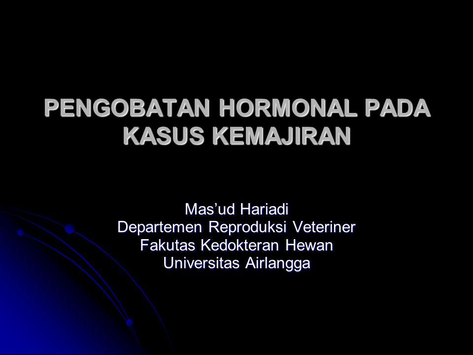 Hormon Reproduksi Hormon protein (peptida) Hormon protein (peptida) GnRH (hipotalamus) GnRH (hipotalamus) Hormon PIH dan PRH (hipotalamus) Reproduksi FSH, LH dan LTH/prolactin (hipofisa anterior) Oksitosin dan melatonin (hipofisa posterior) Oksitosin dan melatonin (hipofisa posterior) Hormon steroid Hormon steroid Estrogen (folikel ovarium) Estrogen (folikel ovarium) Progesteron (corpus luteum) Progesteron (corpus luteum) Testosteron (sel leydig testis) Testosteron (sel leydig testis) Prostaglandin (Hormon asam lemak) Prostaglandin (Hormon asam lemak)