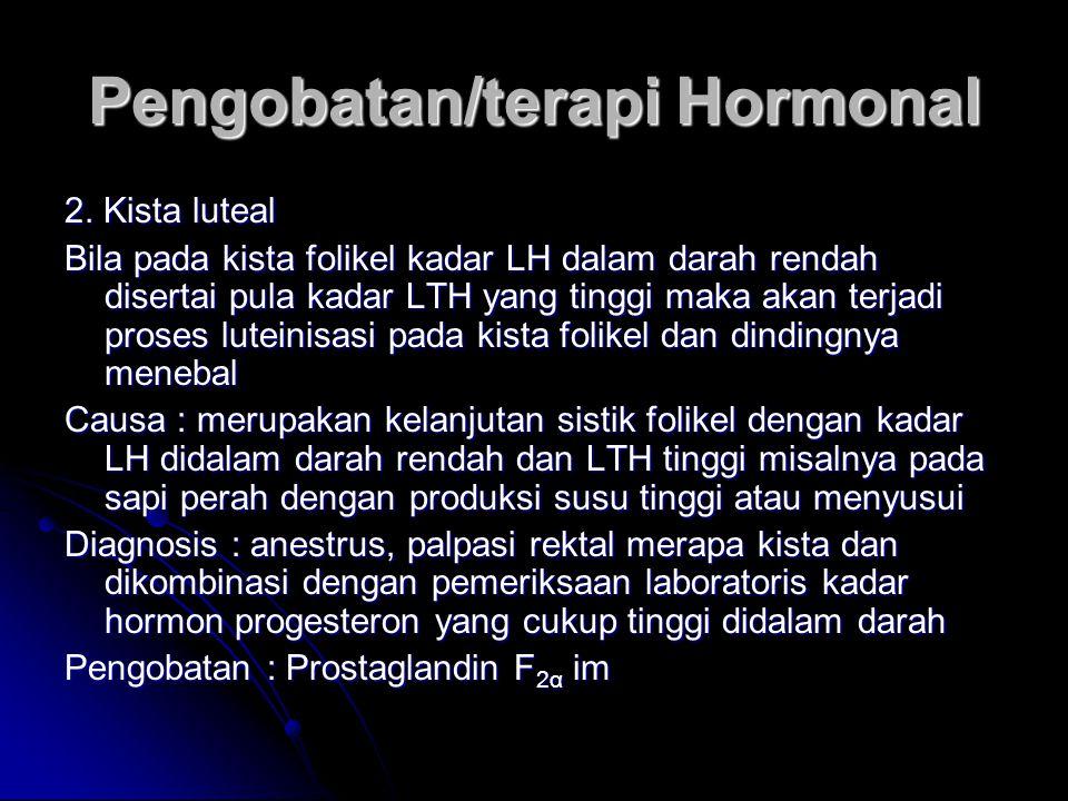Pengobatan/terapi Hormonal 2. Kista luteal Bila pada kista folikel kadar LH dalam darah rendah disertai pula kadar LTH yang tinggi maka akan terjadi p