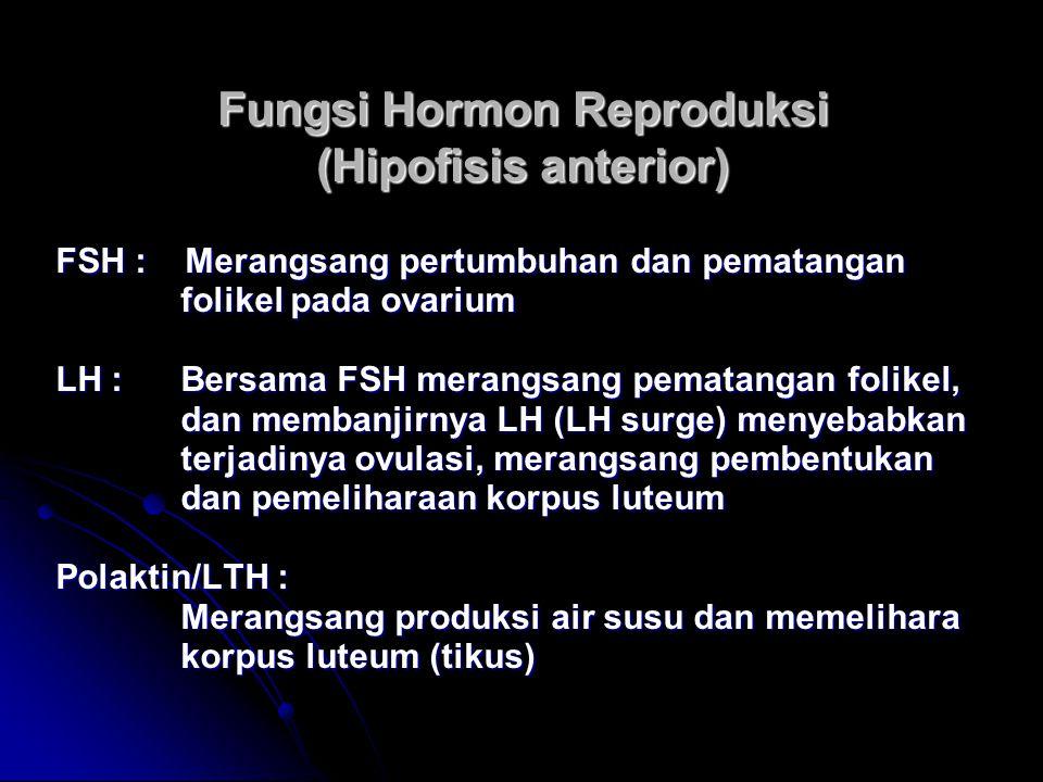 Fungsi Hormon Reproduksi (Hipofisis anterior) FSH : Merangsang pertumbuhan dan pematangan folikel pada ovarium folikel pada ovarium LH : Bersama FSH m