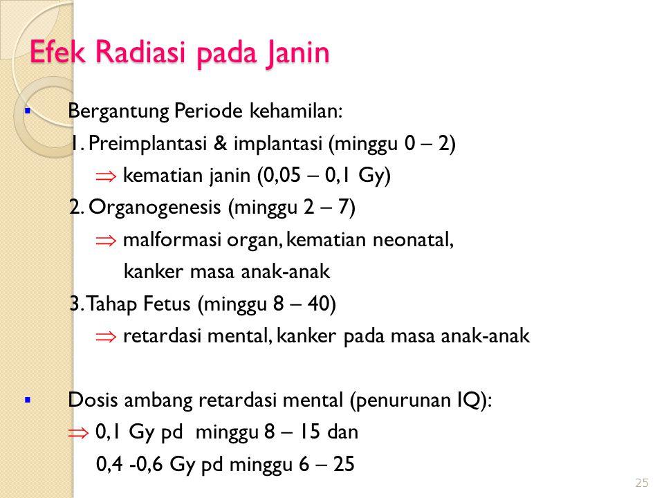 Efek Radiasi pada Janin  Bergantung Periode kehamilan: 1.