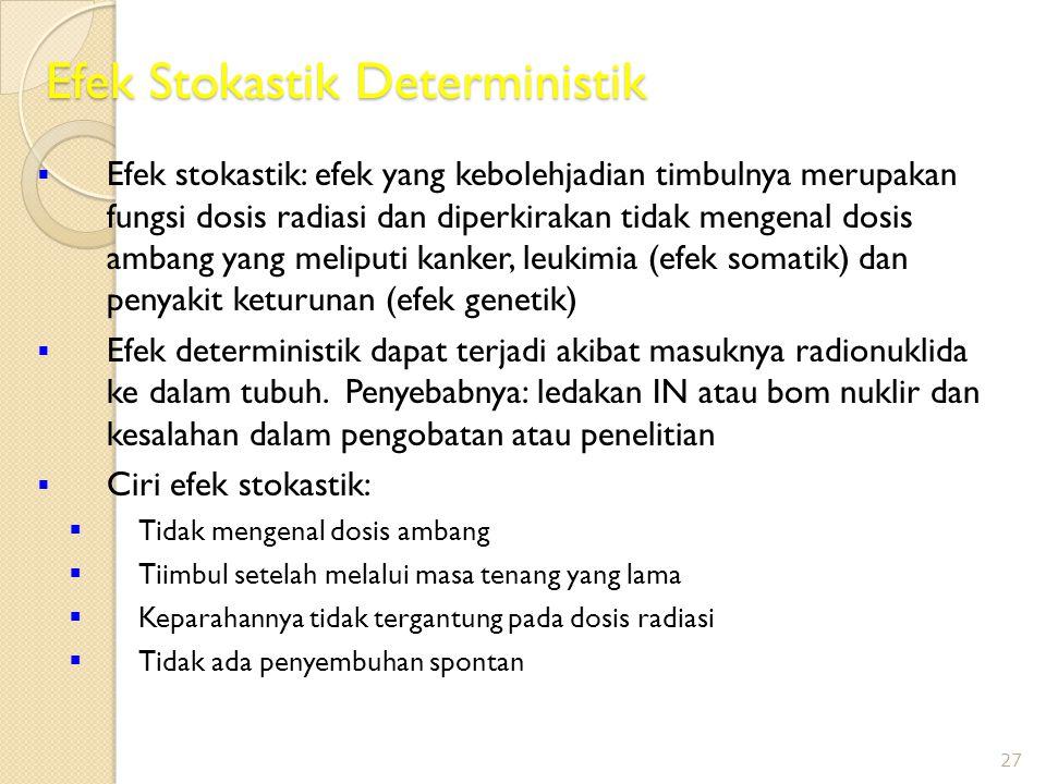 Efek Stokastik Deterministik  Efek stokastik: efek yang kebolehjadian timbulnya merupakan fungsi dosis radiasi dan diperkirakan tidak mengenal dosis ambang yang meliputi kanker, leukimia (efek somatik) dan penyakit keturunan (efek genetik)  Efek deterministik dapat terjadi akibat masuknya radionuklida ke dalam tubuh.