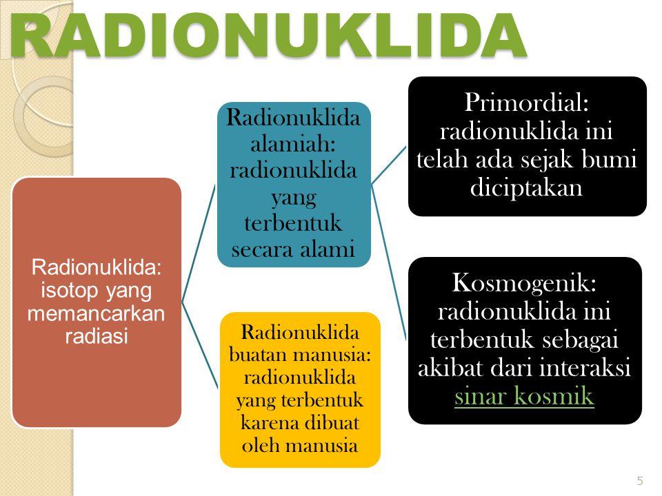 RADIONUKLIDA Radionuklida: isotop yang memancarkan radiasi Radionuklida alamiah: radionuklida yang terbentuk secara alami Primordial: radionuklida ini telah ada sejak bumi diciptakan Kosmogenik: radionuklida ini terbentuk sebagai akibat dari interaksi sinar kosmik sinar kosmik Radionuklida buatan manusia: radionuklida yang terbentuk karena dibuat oleh manusia 5