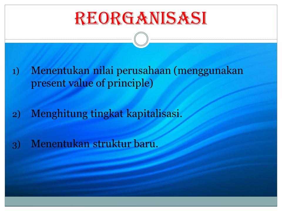 Reorganisasi 1) Menentukan nilai perusahaan (menggunakan present value of principle) 2) Menghitung tingkat kapitalisasi.