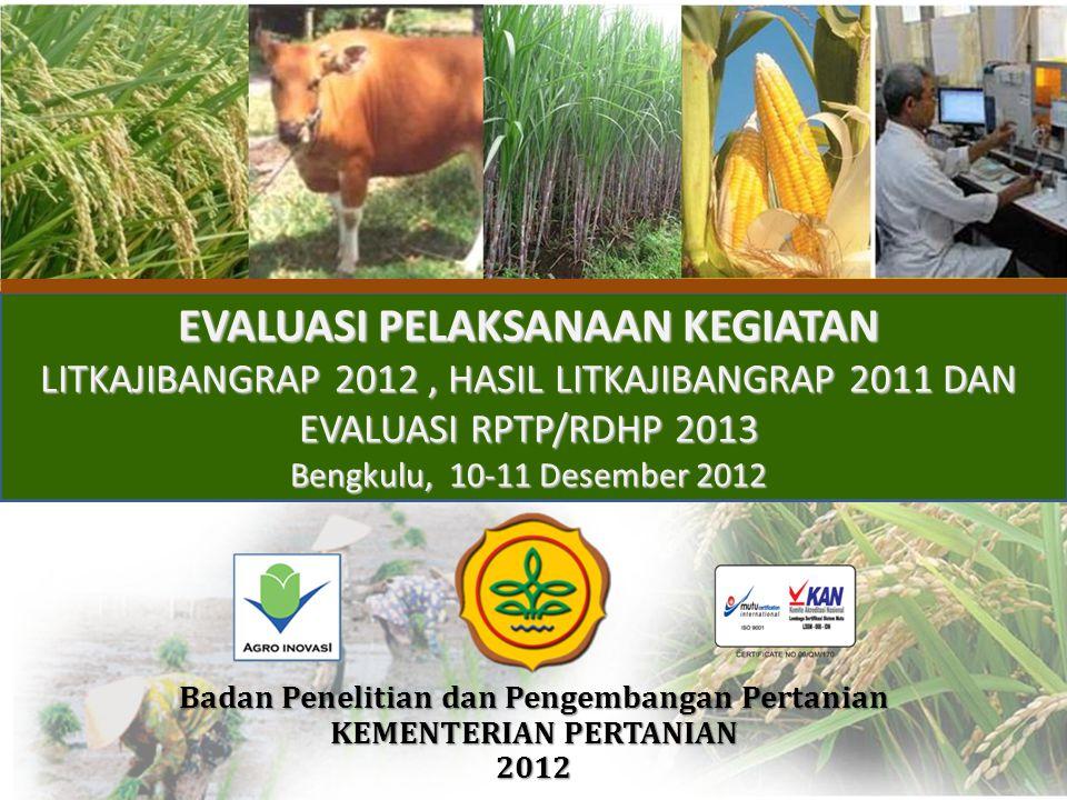 EVALUASI PELAKSANAAN KEGIATAN LITKAJIBANGRAP 2012, HASIL LITKAJIBANGRAP 2011 DAN EVALUASI RPTP/RDHP 2013 Bengkulu, 10-11 Desember 2012 Badan Penelitia