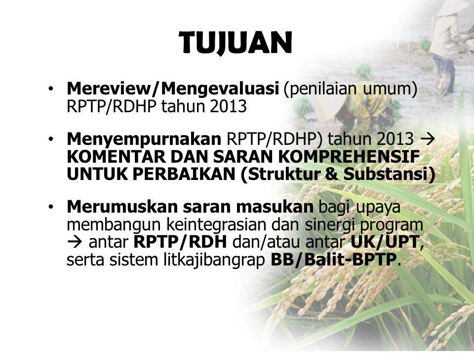 • Mereview/Mengevaluasi (penilaian umum) RPTP/RDHP tahun 2013 • Menyempurnakan RPTP/RDHP) tahun 2013  KOMENTAR DAN SARAN KOMPREHENSIF UNTUK PERBAIKAN (Struktur & Substansi) • Merumuskan saran masukan bagi upaya membangun keintegrasian dan sinergi program  antar RPTP/RDH dan/atau antar UK/UPT, serta sistem litkajibangrap BB/Balit-BPTP.