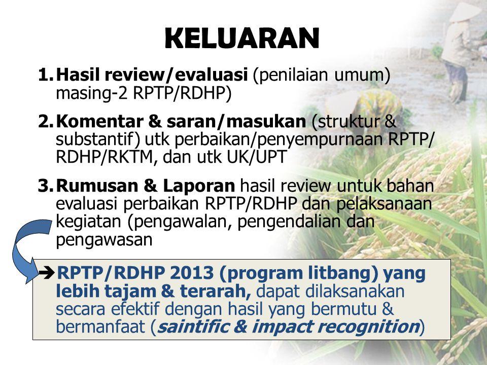KELUARAN 1.Hasil review/evaluasi (penilaian umum) masing-2 RPTP/RDHP) 2.Komentar & saran/masukan (struktur & substantif) utk perbaikan/penyempurnaan RPTP/ RDHP/RKTM, dan utk UK/UPT 3.Rumusan & Laporan hasil review untuk bahan evaluasi perbaikan RPTP/RDHP dan pelaksanaan kegiatan (pengawalan, pengendalian dan pengawasan  RPTP/RDHP 2013 (program litbang) yang lebih tajam & terarah, dapat dilaksanakan secara efektif dengan hasil yang bermutu & bermanfaat (saintific & impact recognition)
