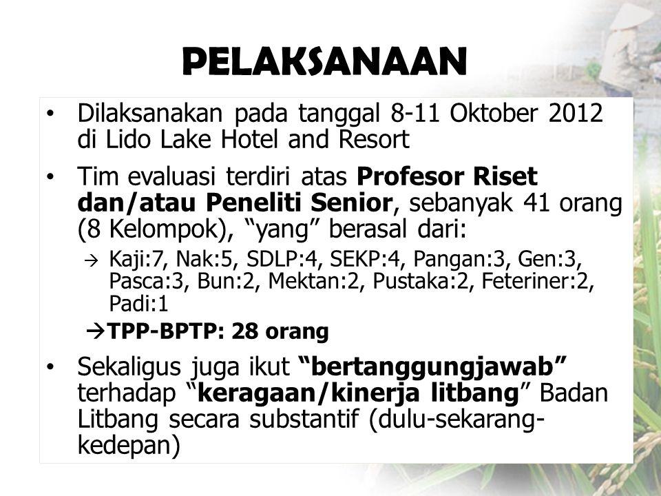 PELAKSANAAN • Dilaksanakan pada tanggal 8-11 Oktober 2012 di Lido Lake Hotel and Resort • Tim evaluasi terdiri atas Profesor Riset dan/atau Peneliti S