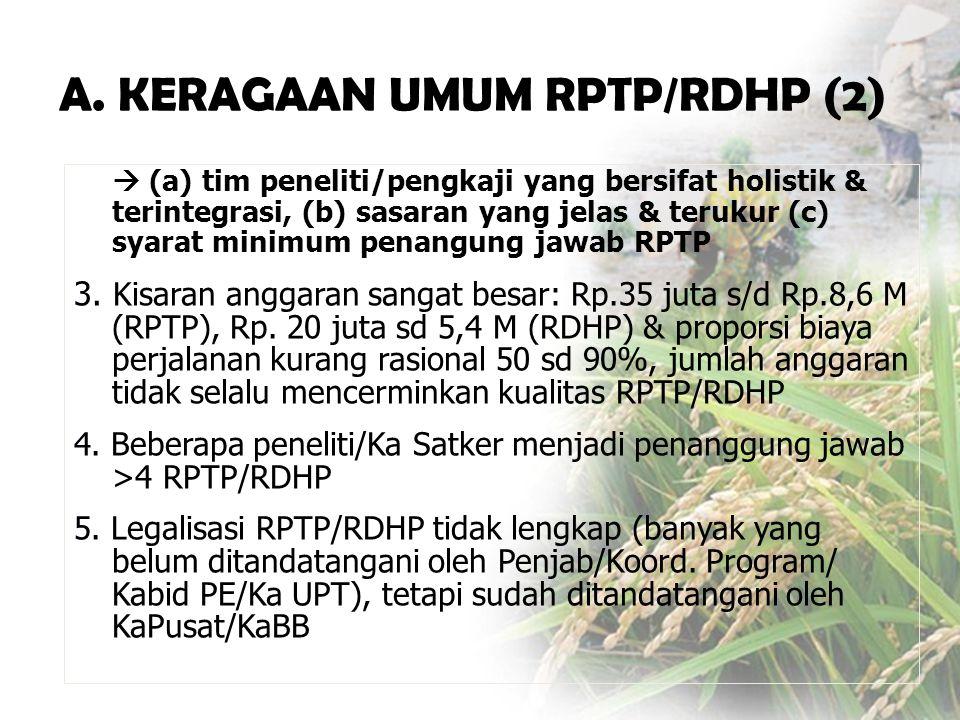  (a) tim peneliti/pengkaji yang bersifat holistik & terintegrasi, (b) sasaran yang jelas & terukur (c) syarat minimum penangung jawab RPTP 3.