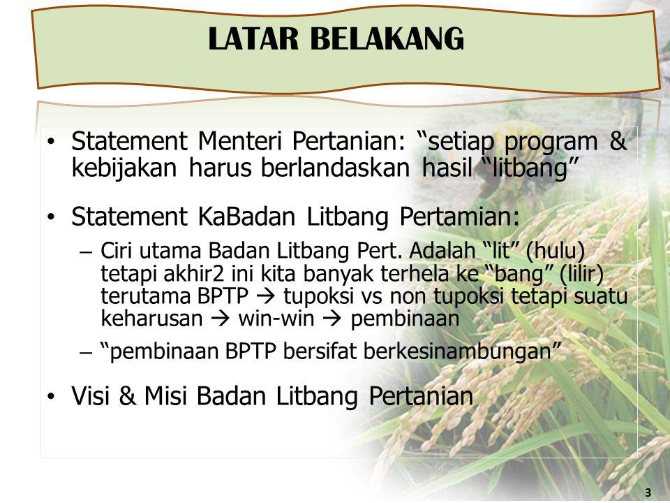 "LATAR BELAKANG 3 • Statement Menteri Pertanian: ""setiap program & kebijakan harus berlandaskan hasil ""litbang"" • Statement KaBadan Litbang Pertamian:"
