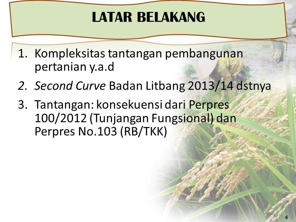 LATAR BELAKANG 4 1.Kompleksitas tantangan pembangunan pertanian y.a.d 2.Second Curve Badan Litbang 2013/14 dstnya 3.Tantangan: konsekuensi dari Perpres 100/2012 (Tunjangan Fungsional) dan Perpres No.103 (RB/TKK)