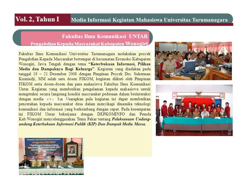 Perbaikan Perpustakaan Pada tanggal 8 – 10 Januari 2009 telah dilakukan kegiatan Bakti Sosial yang dilakukan Badan Eksekutif Mahasiswa Fakultas Ekonomi (BEM-FE)Universitas Tarumanagara.