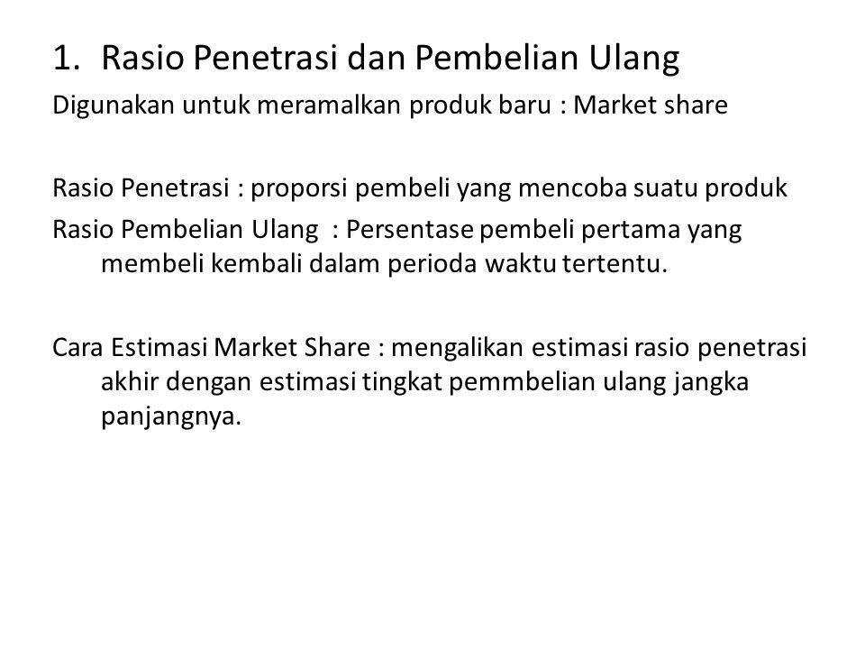 1.Rasio Penetrasi dan Pembelian Ulang Digunakan untuk meramalkan produk baru : Market share Rasio Penetrasi : proporsi pembeli yang mencoba suatu prod