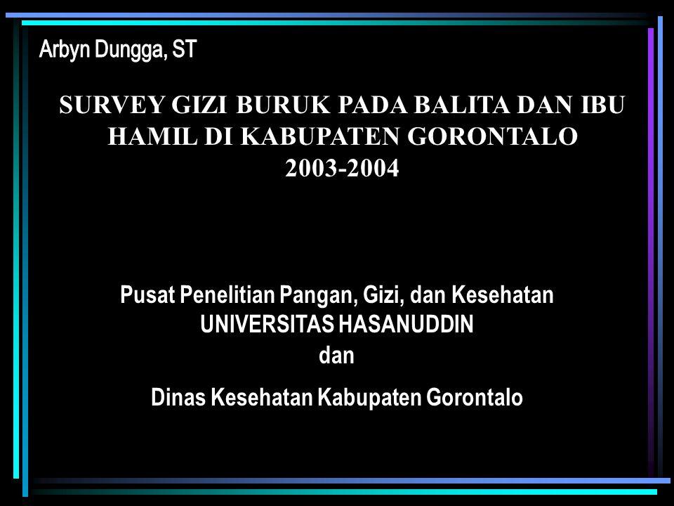 SURVEY GIZI BURUK PADA BALITA DAN IBU HAMIL DI KABUPATEN GORONTALO 2003-2004 Pusat Penelitian Pangan, Gizi, dan Kesehatan UNIVERSITAS HASANUDDIN dan D