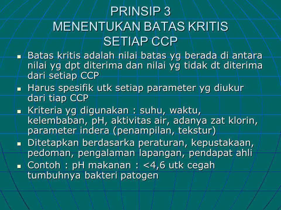 PRINSIP 3 MENENTUKAN BATAS KRITIS SETIAP CCP  Batas kritis adalah nilai batas yg berada di antara nilai yg dpt diterima dan nilai yg tidak dt diterim