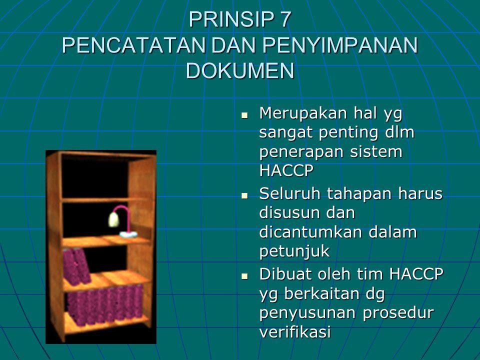 PRINSIP 7 PENCATATAN DAN PENYIMPANAN DOKUMEN  Merupakan hal yg sangat penting dlm penerapan sistem HACCP  Seluruh tahapan harus disusun dan dicantum